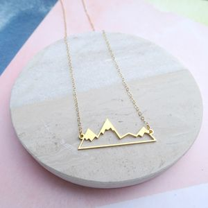 24k Gold Plated Mountain Range Necklace