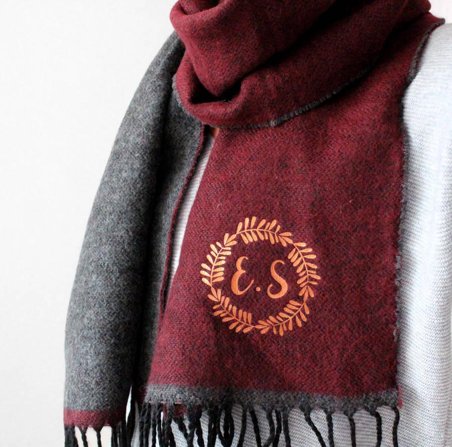 Monogram Two Tone Soft Knit Scarf