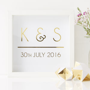 Personalised Initial Framed Print - 50th anniversary: gold