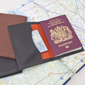 Brown Leather Passport Travel Wallet - 3rd anniversary: leather
