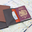 Brown Leather Passport Travel Wallet