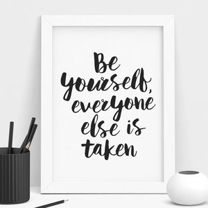 'Be Yourself Everyone' Inspirational Typography Poster - posters & prints