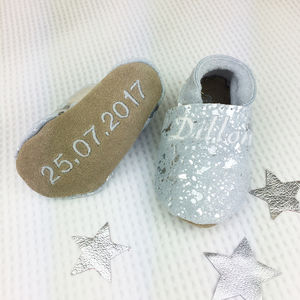 Personalised Silver Sparkle Christening Shoes - clothing