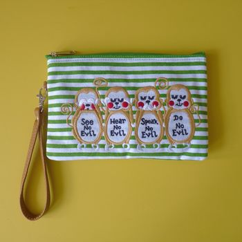 Wise Monkeys Cosmetic Pouch / Clutch