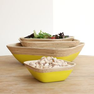 Yellow Dipped Bamboo Serving Trays - fruit bowls