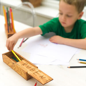 Personalised Italian Olive Wood Pencil Case