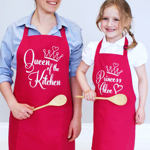Personalised Queen And Princess Aprons Set - kitchen