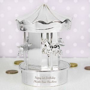 Personalised Silverplate Carousel Money Box - for children