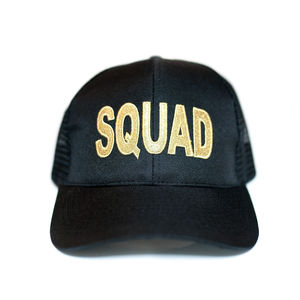 Black Squad Baseball Cap With Metallic Gold Embroidery