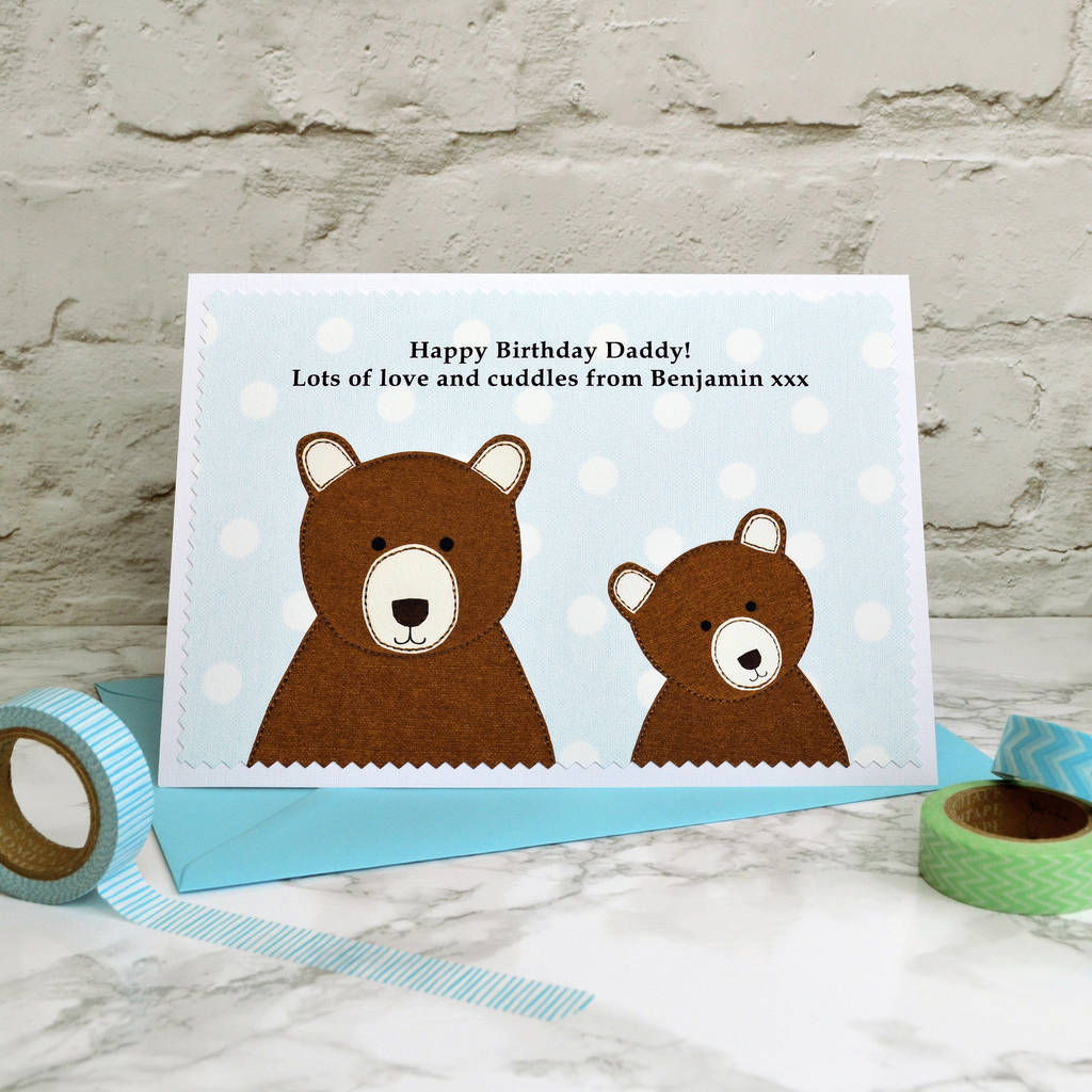 Personalise The Card With Either One Or Two Baby Bears Next To Daddy Papa