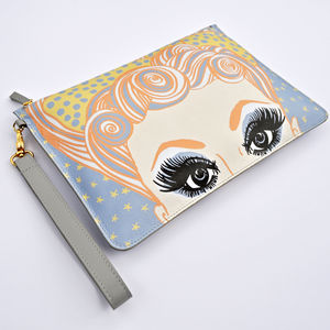 Dolly's Salon Print Leather Clutch Bag