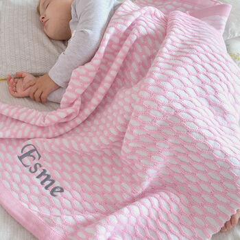 Personalised Pink Knitted Baby Blanket