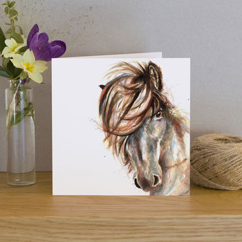 Inky Horse Blank Greeting Card
