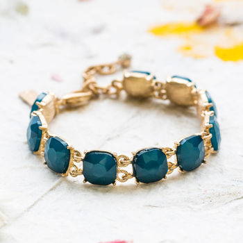 Teal Cushion Cut Stone Bracelet