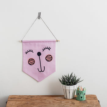 Happy Face Pink Nursery Wall Hanging