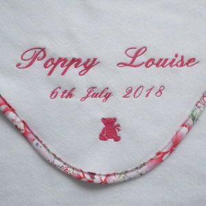 Personalised Baby Blanket With Pink Floral Edging - baby's room
