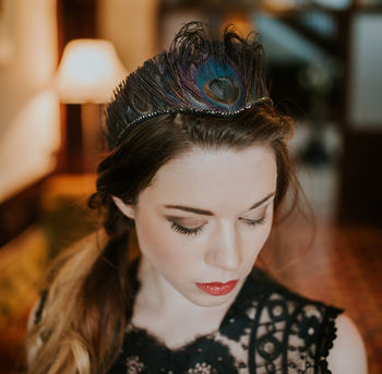 'Black Swan' Peacock Feather Tiara With Crystal Edge