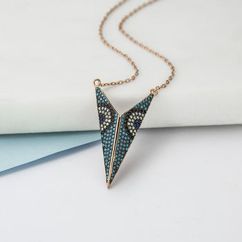 Sterling Silver Triangle Peacock Pavé Necklace