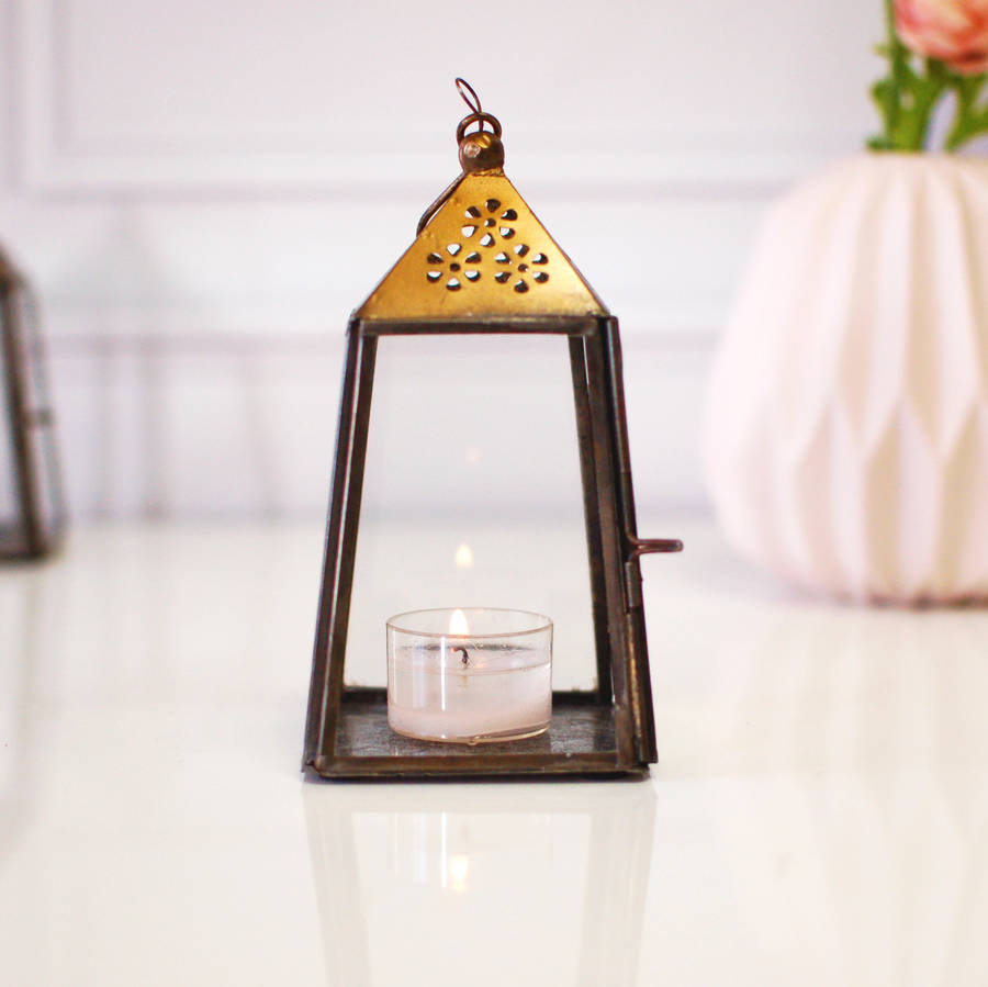 Hanging Gold Brass Vintage Tea Light Holder Lantern