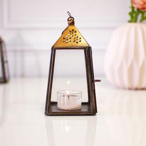 Hanging Gold Brass Vintage Tealight Holder Lantern