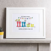 Personalised Welly Boot Family Print - prints & art