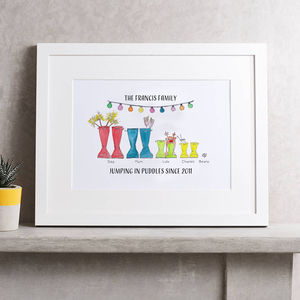 Personalised Welly Boot Family Print - under £25