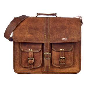 Large Brown Strap Style Leather Satchel / Laptop Bag