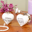 Ceramic Antique Style Enter And Exit Heart Drawer Pulls