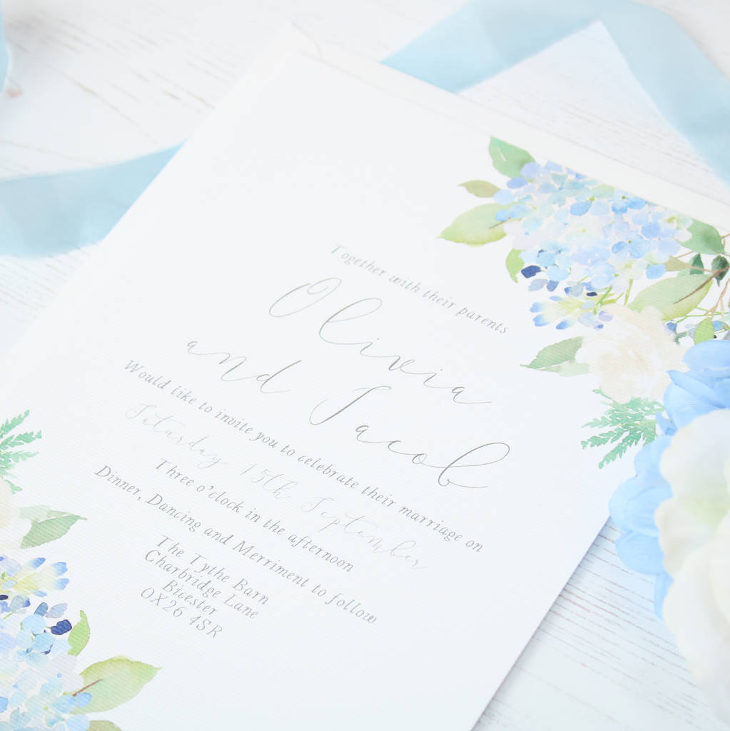fleuriste blue hydrangea rose wedding invitation sample by the ...