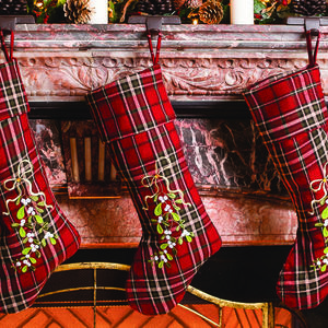 Highland Tartan Mistletoe Christmas Stockings - christmas sale