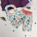 Handmade Dinosaur New Baby Trouser And Bib Gift Set