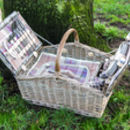 Personalised Lavender Tartan Barn Hamper For Four