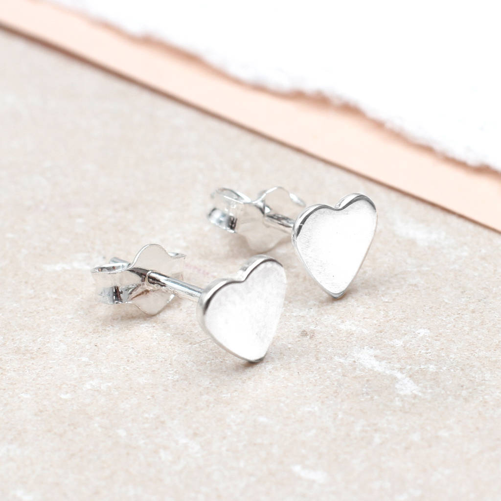 girls tiny sterling silver heart earrings by hurleyburley junior ...