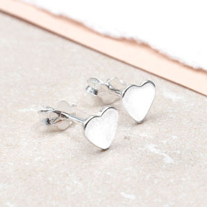 Girls Tiny Sterling Silver Heart Earrings