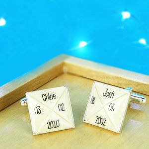 Personalised Square Cufflinks - cufflinks
