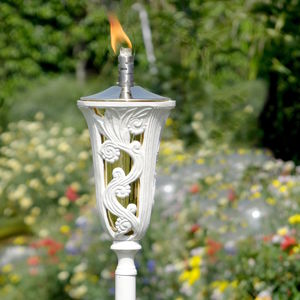 Antique White Garden Oil Torch - lighting