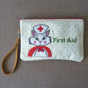 Nurse Kitty Cosmetic Pouch / Clutch - sale