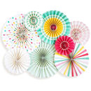 Hooray Rainbow Party Fan Set