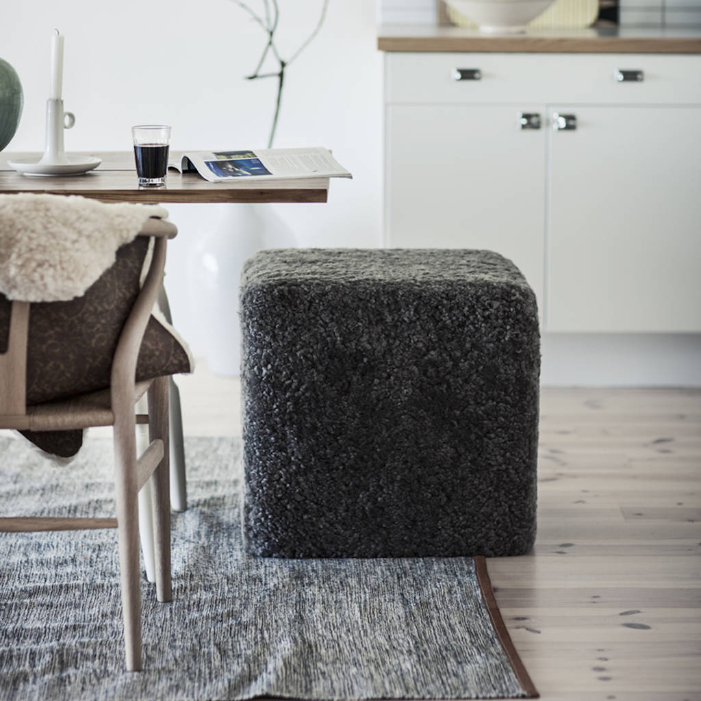 Sheepskin Rug Square: Grey Curly Sheepskin Square Pouffe By Lime Tree London