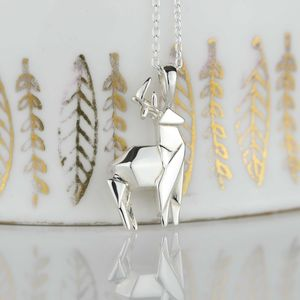 Stunning Silver Origami Stag Necklace