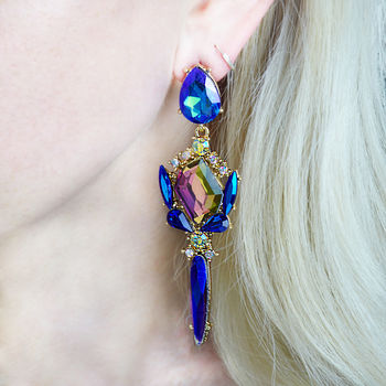 Blue And Pink Statement Jewel Chandeller Earrings