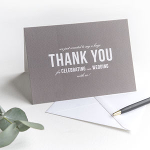 Wedding Thank You Card / Stone Grey