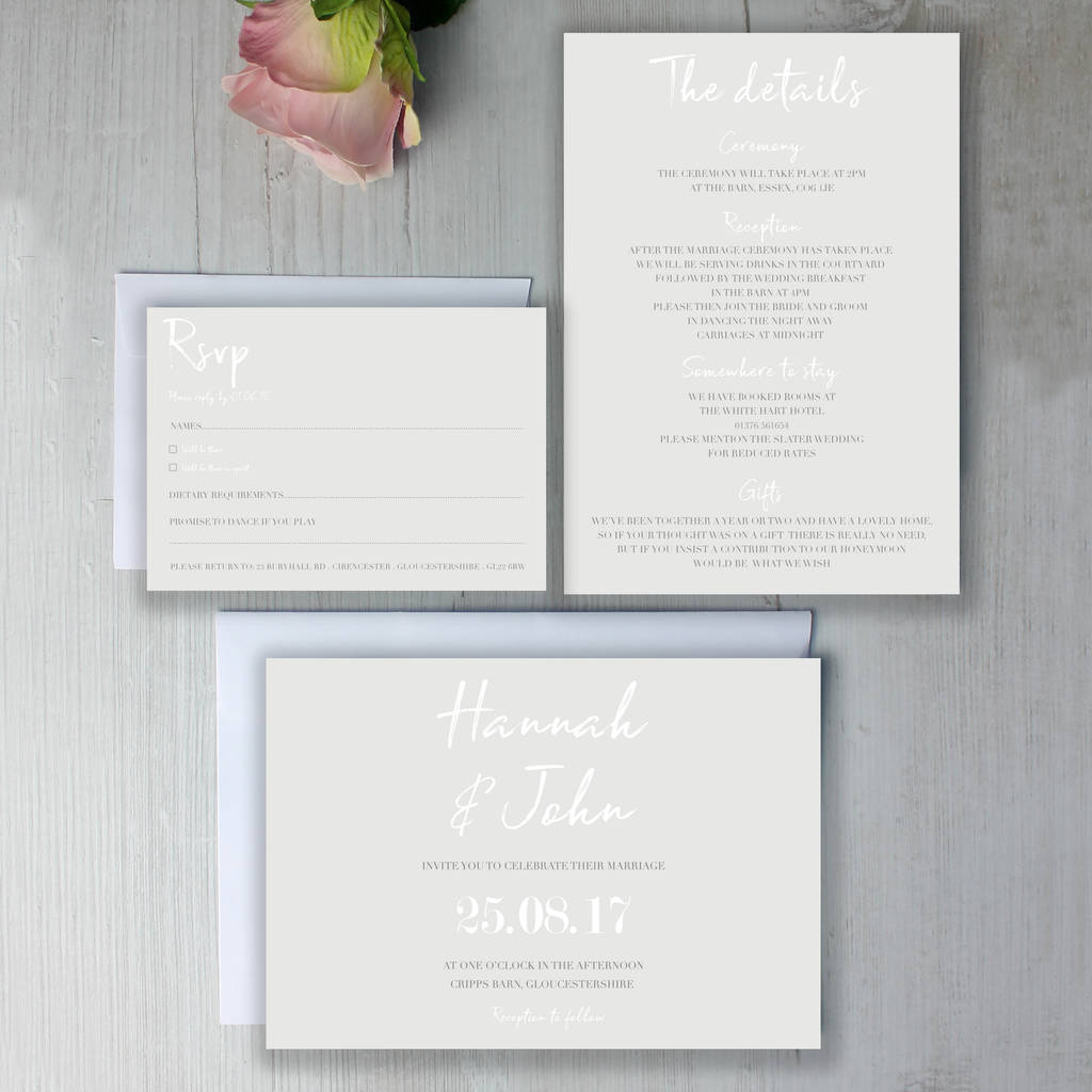 modern classic wedding invitation suite by beija flor studio ...