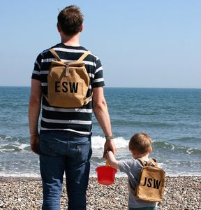 Mini Me Sustainable Brown Paper Style Rucksacks - personalised sale