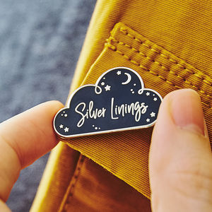Silver Linings Enamel Lapel Pin Badge
