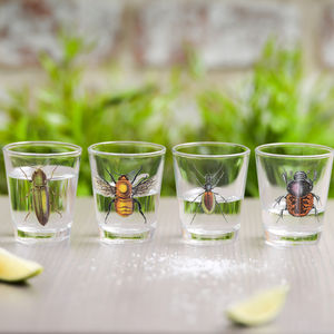 Set Of Shot Glasses With Insect Design - drink & barware