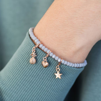 Grey Crystal And Rose Gold Charm Bracelet