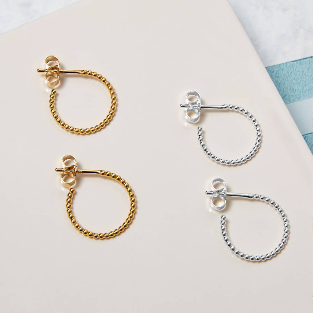 Sterling Silver Mini Ball Hoop Earrings