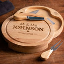 Personalised Wedding Cheese Board And Knife Set