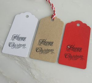 Six Hand Printed 'Happy Christmas' Gift Tags